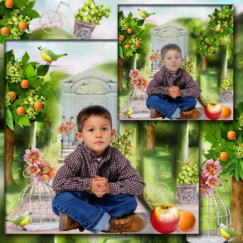 Шаблон для фотошопа - В апельсиновом саду