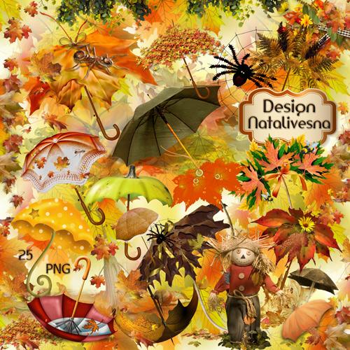 Клипарт в PNG –  Зонтики из листьев