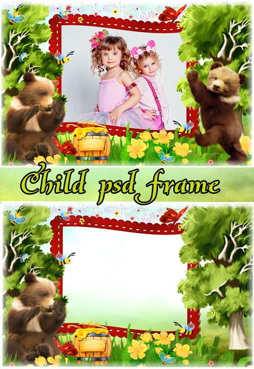 Детская рамка для фотошопа - Жили были медвежата