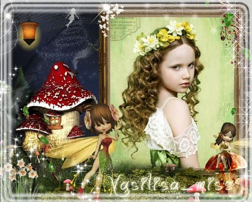 Красочная фоторамочка для девочки мечтающей оказаться в сказочной стране фе ...