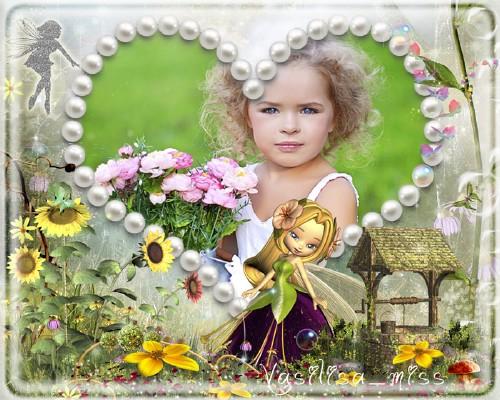 Красочная фоторамочка для девочки на ярком фоне среди множества цветов