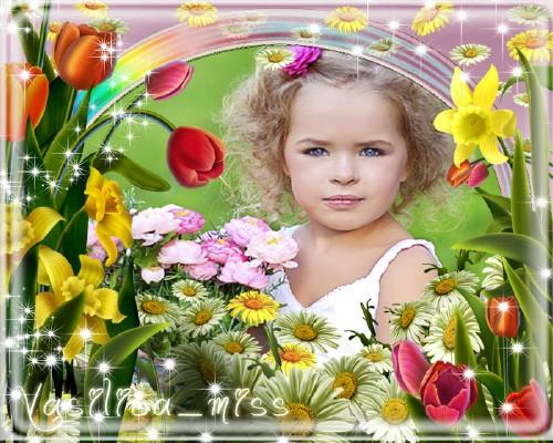 Фоторамочка для фотошопа с очень красивыми цветами и рамочкой цвета радуги