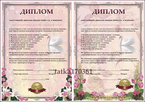 Свадебный диплом для поздравления невесты