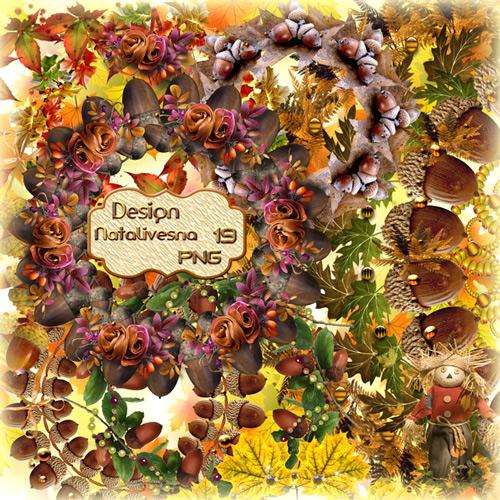 Цветочные  рамки – вырезы с цветами и желудями