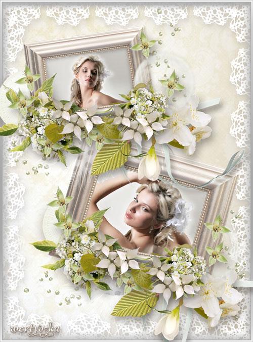 Свадебная рамка для фотошопа - Цветы жасмина