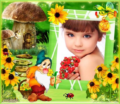 Детская рамка для фотошопа - Гномик с чудесными желтыми цветами