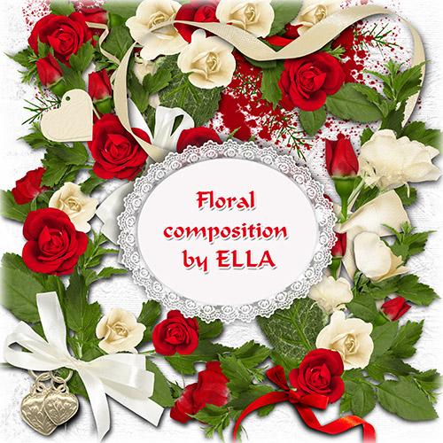 PSD клипарт- Цветочные композиции с белых и красных роз