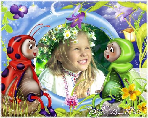 Красивая детская рамочка для фотошопа с забавными жучками на сказочной лесн ...