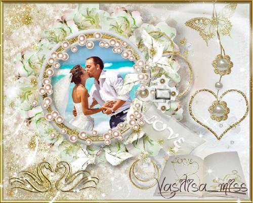 Красивая свадебная рамочка для фотошопа на романтическом фоне - Открыя книг ...