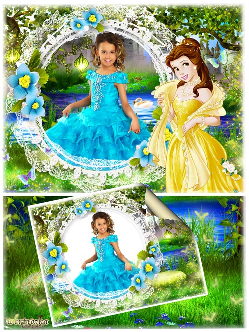Детская рамка для фотошопа - Принцесса и бирюзовые цветочки