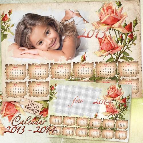 Календарь - рамка в винтажном стиле с розами на 2013 - 2014 год