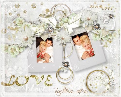Великолепная свадебная рамочка для фотошопа на романтическом фоне - Любовь