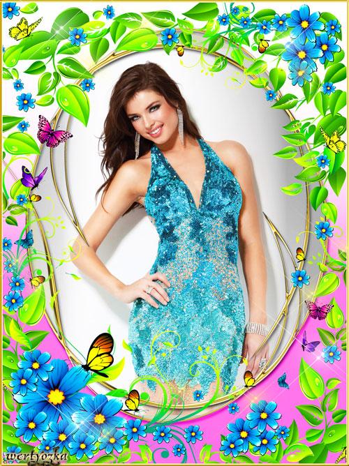 Цветочная рамка  -  Голубые цветы незабудки