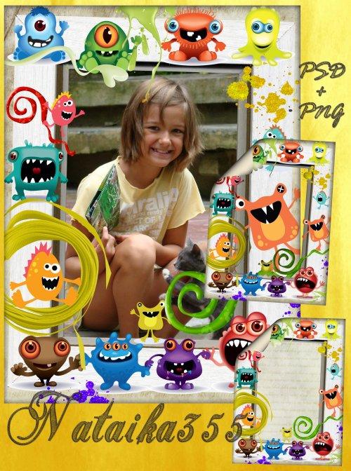 Рамка для детского фото - Разноцветные монстры