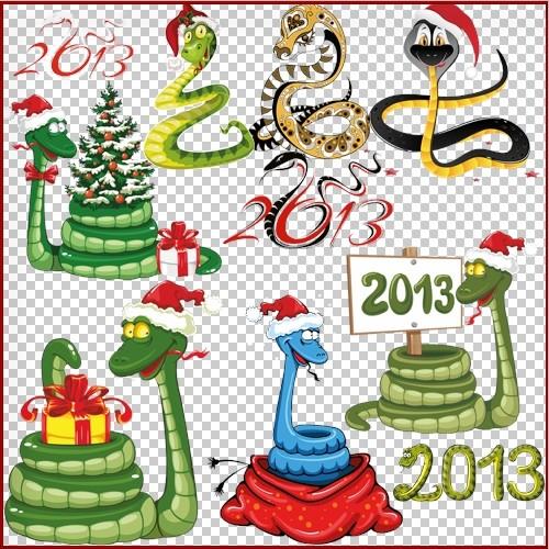 Клипарт - Символ 2013 года новогодние змеи и надписи