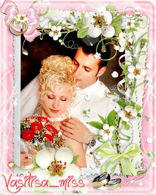 Великолепная свадебная рамочка для фотошопа на розовом фоне с цветочной ком ...