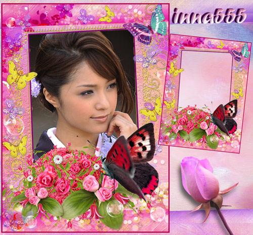 Цветочная рамка для девушки в розовых тонах – Сладкий запах нежных роз