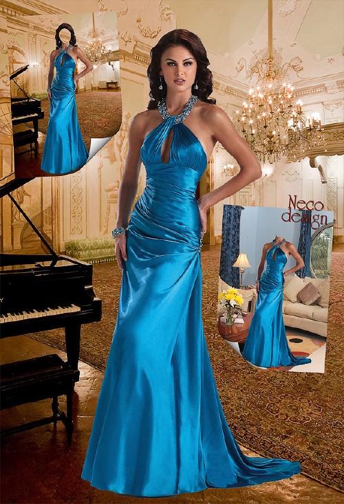 Женский шаблон - В синем вечернем платье с роялем и в гостиной