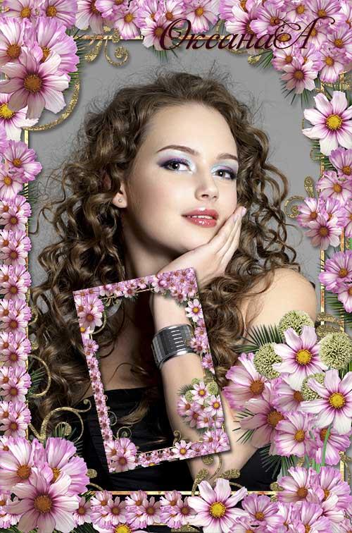 Женская рамка  с цветами  Космеи  -  Таинственная незнакомка