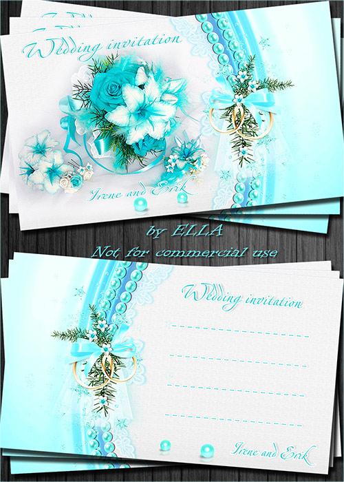 Нежно-голубые свадебные приглашения-Вместе навсегда!