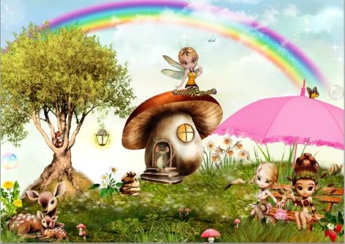 Красивый сказочный фон - Мышкин дом на волшебной  поляне