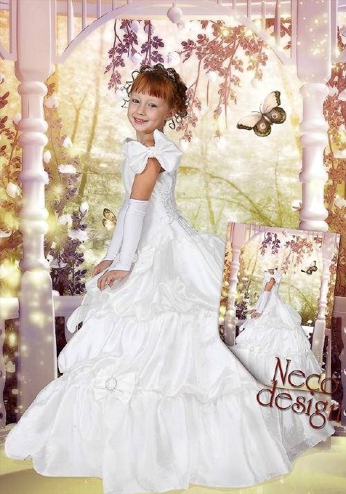 Детский шаблон для девочки - Маленькая принцесса в сказочном саду