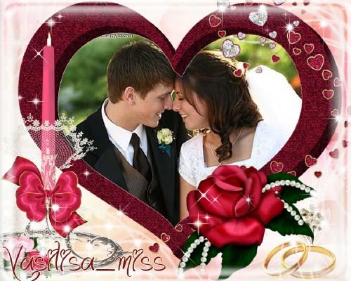 Великолепная свадебная рамочка для фотошопа на розовом фоне с романтическим ...