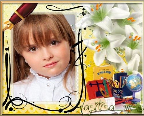Красивая школьная фоторамочка для фотошопа с  лилиями и школьными принадлеж ...