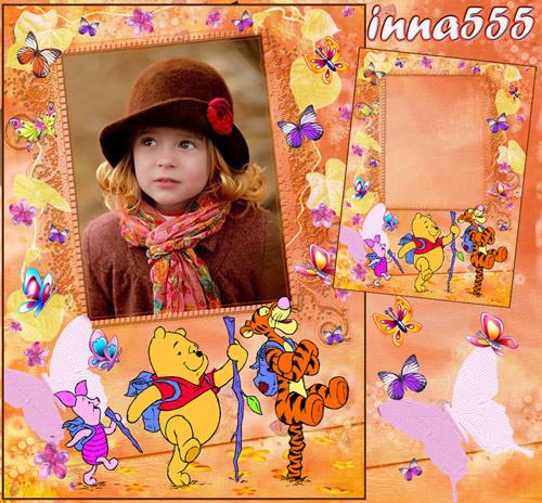 Детская фоторамка с Винни Пухом - Как-то внезапно пришла осень