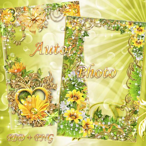 Две красивые рамки для фото с жёлтыми цветами