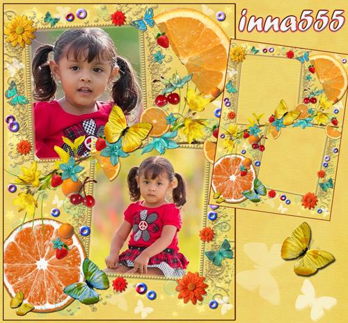 Детская рамка на 2 фото, украшенная цветочками, бабочками, апельсинами, клу ...