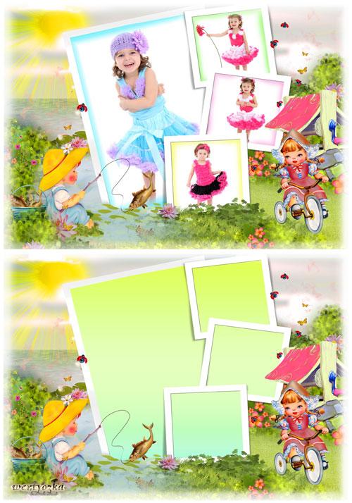 Детская рамка для фотошопа - Чудесные моменты детства