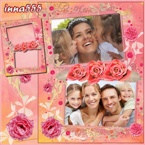 Рамка для двух семейных, детских или взрослых фото - Красивые нежные розы