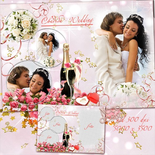 Стильная свадебная рамка на четыре фотографии с розами и шампанским