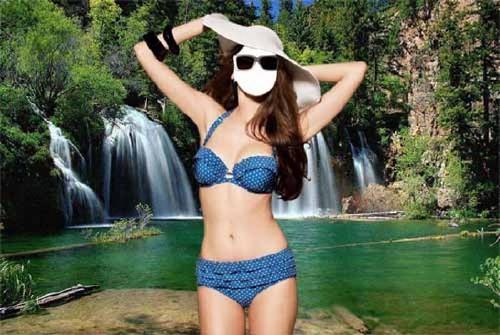Шаблон Девушка у водопада