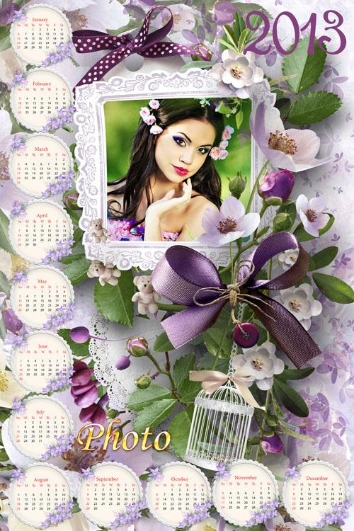 Красивый романтический календарь на 2013 год с цветами