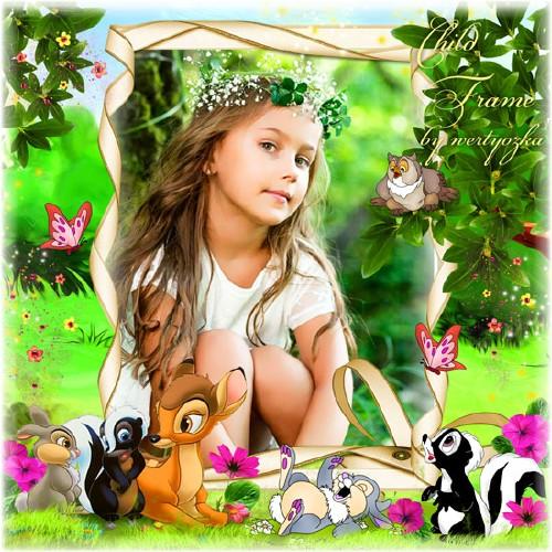 Детская рамка для фото - Забавный олененок Бемби и его друзья
