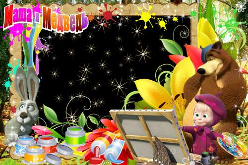 Детская рамка с героями мультфильма Маша и Медведь - Картина маслом
