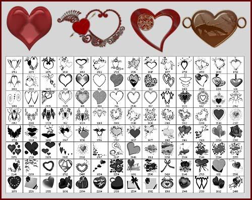 Кисти для фотошопа - Сердечки для романтических рамочек