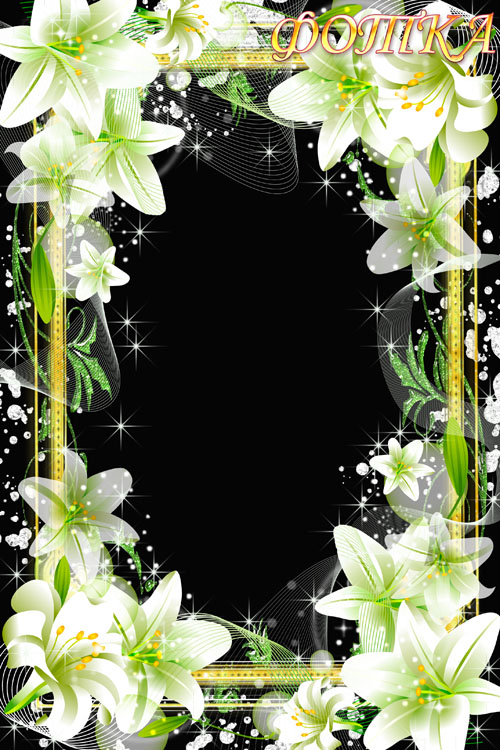 Цветочная рамка для фотошоп - Нежные белые лилии