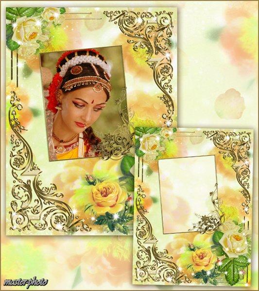 Цветочная рамка для фотошопа – Очарование роз