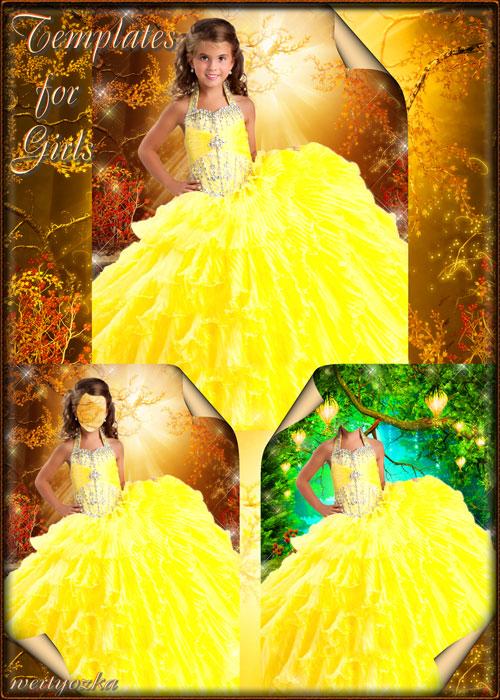 Детские шаблоны для девочки - Сказочное искристо-желтое платье