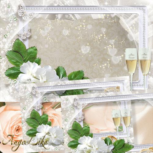Нежная свадебная фоторамка - Белые цветы, кольца и бокалы шампанского