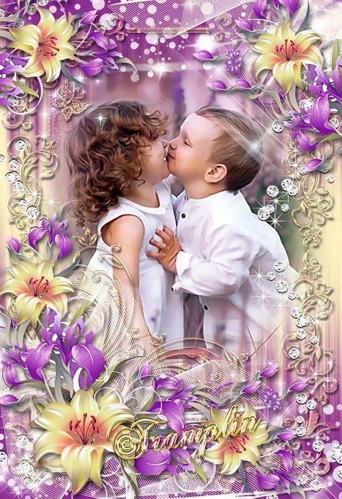 Нежная рамка с лилиями – Словно птица небесного рая – любовь