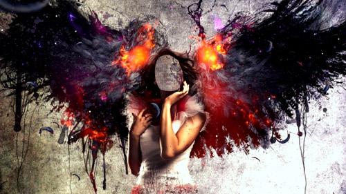Шаблон женский - девушка ангел