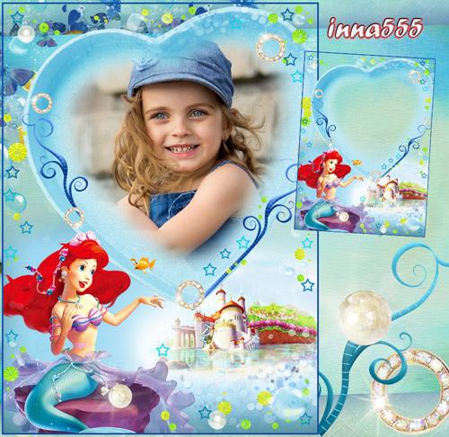 Фоторамка для девочки с русалочкой Мелоди - Юная принцесса подводного царст ...