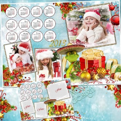 Красочный новогодний календарь на 2013 год со змеёй  ёлочными шариками и по ...