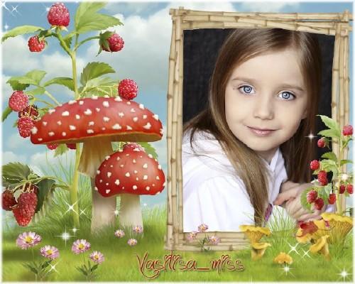 Красочная детская рамочка для фотошопа - Грибы и ягоды