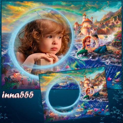 Детская рамка с русалочкой Ариэль и принцем Эриком