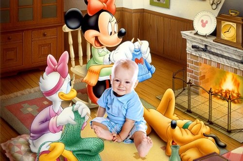 Детский шаблон для Фотошопа - Микки-Маус